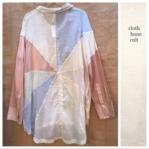 ✨NWT✨FREE PEOPLE 🌼Rainbow Rays Sheer Button SHIRT